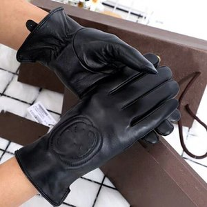 Gants en cuir d'hiver de haute qualité et gants d'écran tactile de peau de mouton de la peau de lapin, preuve de la peau de mouton chaud à froid fait référence aux gants de marque F
