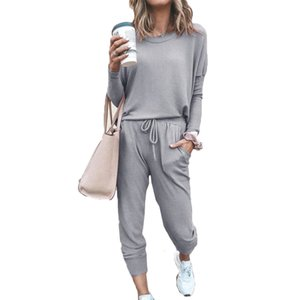 Casual Ladies Suit 2020 New Europe and America Style Spring Autumn Sports T-shirt Tops & Pencil Pants Two-piece Set Sportswear