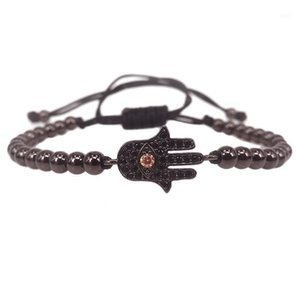 Mens Hamsa Bracelet,Micro Pave Black CZ Hamsa Hand Connector Braided Macrame Mens Evil Eye Bracelet Women Jewelry1
