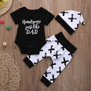 Telotuny Baby Boy Girl Clothing Set Handsome like Dad Short Sleeve Letter Print Tops T-Shirt +Pants Outfits Set Black JU 14
