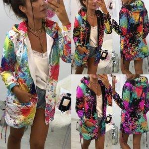 Joineles otoño Aceite manera del invierno impresión de la pintura Sudaderas con cordón Bolsillos Hoodies más del tamaño 5XL Casual Tops Outwear 201017