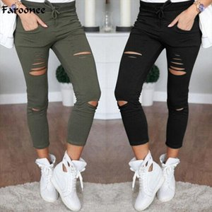 Skinny Pants Women Sexy Hole Knee Pencil Pant Lady High Waist Legging Slim Trousers Stretch Ripped Jeans Plus Size 4XL