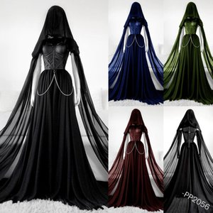 Halloween Woman Medieval Vintage Dresses Gothic Style Hollow Hooded Evening Party Wear Renaissance Elegant Princess Vestido