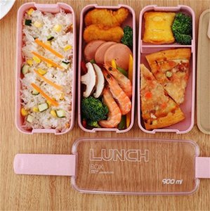 3 couches Boîte à lunch portable Sceller Soell Up Exactivation de bento Boîtes de Bento Couvercle Transparent Fourche Spoon Beat Fibre de blé Rectangle Nouveau 8 5SM G2