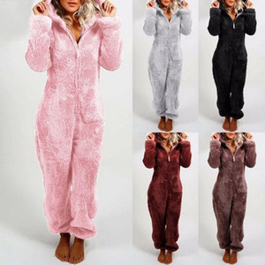Women Print Winter Pajama Set Jumpsuits Long Sleeve Loose Top Elastic Waist Thick Warm Sleepwear Home Clothing Female Homewear1