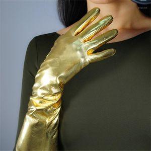 Gants en cuir de brevet longueur moyenne 40cm Super lumineux miroir doré éclairage élastique gloves de simulation en cuir JS401