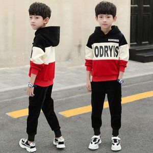 New Children Boys Clothing Set For Kids Casual Letter Hooded Velvet Autumn Spring Children's Sports Suits Clothes 4-12Y 201015