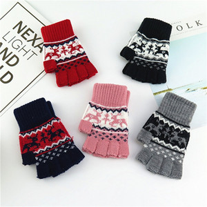Keep Warm Fingerless Glove Multi Colors Cute Deer Pattern Knitting Halffinger Gloves Students Adult Wind Proof Expose Fingers Mitts 4 3lc L2
