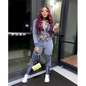 2020 neue Frauen Jeans Hohe Taille zerrissen zerstörte Hosen Demin Patchwork Bodycon Quasten Bodycon Slim Bleistift Jeans Club