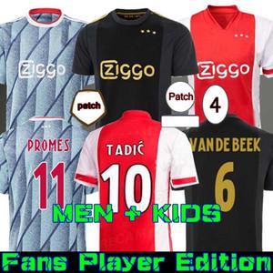 20 21 Ajax Away Soccer Jersey PROMES 2020 2021 Camiseta de fútbo Van de Beek Tadic Ziyech Camicia da calcio Uomo bambini set uniforme 50th Neres