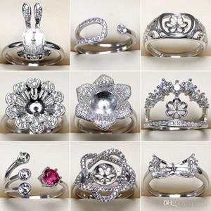 S925 실버 반지 설정 지르콘 반지 여성 소녀 파인 쥬얼리 조정 크기 DIY의 선물 도매 보석 설정 DIY의 반지