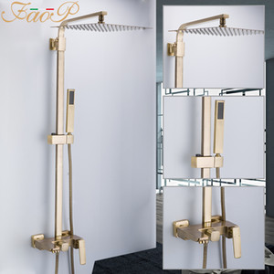 FAOP Duschsystem Gold Bad Duschsets Messing Wasserfall Duschköpfe Wasserhahn für Bad Mischer Luxus Niederschläge Armaturen 1011