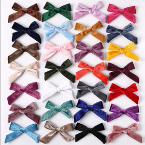 Bows Baby Hairclips Girls Velvet Hair Pins Toddler Party Hair Clips Kids Barrette Boutique Hairgrips Hair Accessories 26 Colors