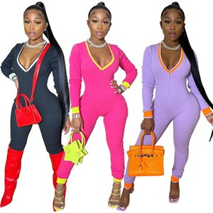 Frauen Bodysuit Jumpsuit Strampler Tief V-ausschnitt Langarm Legging Jumpsuits Strampler Sport Yoga Fitness Einteilige Hosen Onesies E122204
