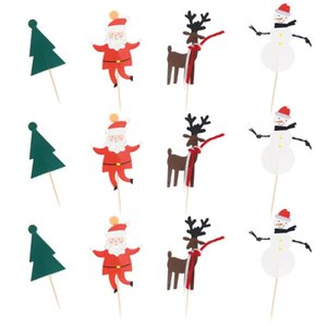 12 Pcs Cake Picks Christmas Cake Toppers Decorations for