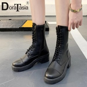 DORATASIA Round Toe Lady Sewing Platform Mid Calf Boots Brand Classic Boots Women Lace Up Square Heel Fashion Shoes Woman