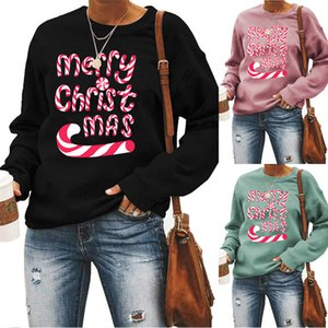Femmes Joyeux Noël Lettre Hoodies Automne O-Neck manches longues Vêtements femme lâche Sweashirt Famale Vêtements de loisirs