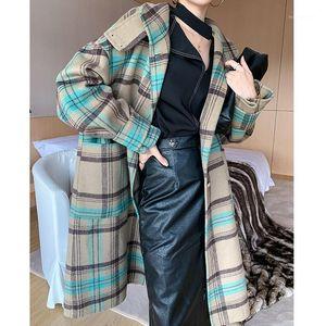 Vintage 100% Abrigo de lana Femenino elegante Ladies Plaid Larga Lana Chaqueta Mujeres Moda Coreana Manteau Femme HIVE 2020 90231