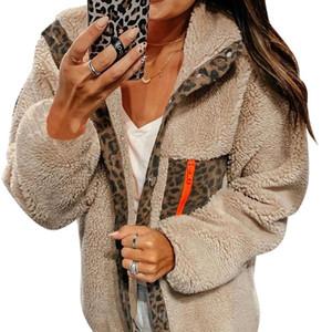 Cappotto di pelliccia Faux Femmina Leopardo Stampa Giacca con cappuccio Cappotto Casual Cappotto invernale Donne calda Faux Fur Teddy Manteau FourRure Femme D25