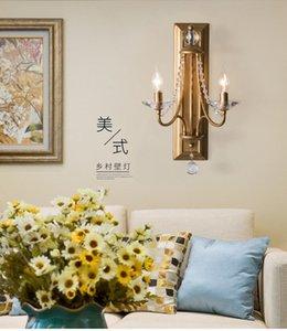 American Retro Crystal Wall Lamp Lampada da ambito Lampada da parete Doppia testa di cristallo Soggiorno del comodino