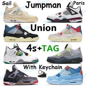 Branco x vela criados paris 4 4s de basquete sapatos jumpman sneakers união goiaba gelo azul noir denim jogo rasta real formadores SE de néon