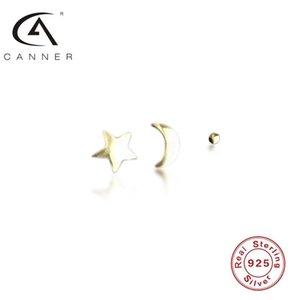 Canner 925 Brincos de Prata S925 Sterling Plata Piercing Ear Anéis Mini Star Moon 3 Pcs Set Western Simples Mulheres Pendientes
