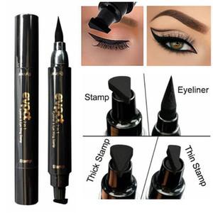 New Eye Makeup Tool evpct Double-end Eyeliner Pencil+stamp Triangle Seal Eyeliner 2 in 1 Waterproof Liquid Eyeliner 17g DHL Free