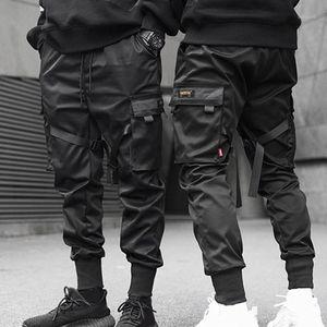 Harajuku Sweetpant Hip Hop Pantalones Multi-Bols Block Color Block Black Pocket Cargo Pantalones Harem Joggers1