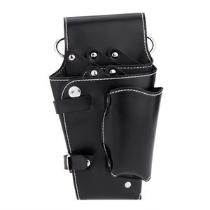 Black Waist Pack for Hairdressing Tool Soft Leather Scissors Comb Bag W188