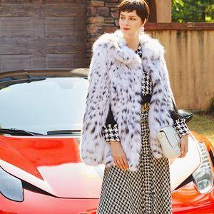 Ftangaiur 2019 Winter US imports of pure white lynx cat Bobcats LYNX Natural Fur cloak Coat Women's Medium Real Fur Coats1