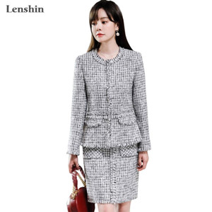 Lenshin 2 Pieces High Quality Set Fashion Women Burlap blazer skirt suits Office Lady Elegant Soft and comfortable Jacket skirt