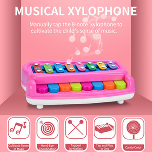 2 IN 1 Musical Instrument Toy Funny Cartoon Knock Piano Toy Electronic Organ Baby Piano Keyboard Toy
