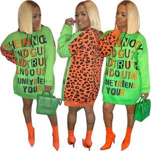 Letter Pattern платья женщин конструктора Leopard Лоскутная фонариков рукавом с капюшоном Пуловер Кофты платье высокой талией вскользь Женская одежда