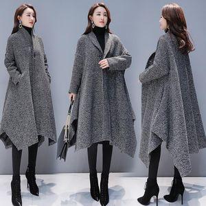 Inverno Cappotto Donne stile coreano allentato cappotto lungo di lana One Button signora Outwear Fashion collare del basamento trench abbigliamento femminile
