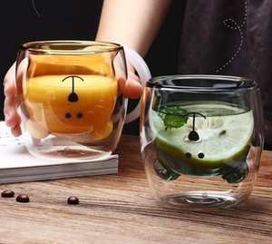 250ml Creative Cartoon Double Layer Heat-Resistant Color Glass Bear Modeling Coffee Juice Milk Cup 6 Colors Available