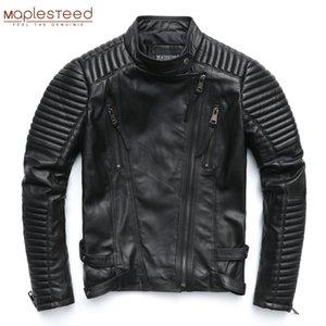 Chaqueta de cuero genuino de mapledeseed mujeres chaqueta de cuero de piel de oveja negro suave delgado punk punk bomber femenino abrigo de cuero otoño M049 201124