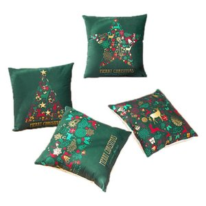 Glowing Merry Christmas Gift Cushion Cover Home Sofa Seat Decorative Pillow Cover Super Sofa Bell Snow Pillow Case,4 PCS