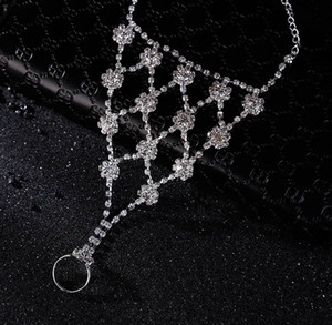 New Arrival Bridal Barefoot Sandals Women Crystal Silver Anklets For Wedding