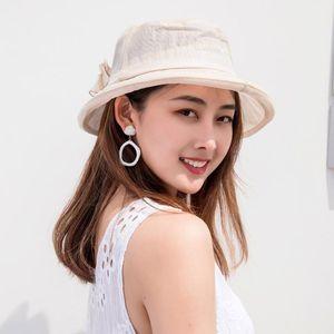 Cap Sunshade Women Flower Top Hat dom de protecção dobrável malha respirável para o verão HSJ88