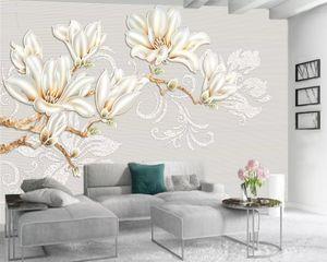 Custom Luxury 3d Wallpaper Modern Mural 3d Wallpaper HD Noble Flowers Premium Atmospheric Interior Decoration Wallpaper