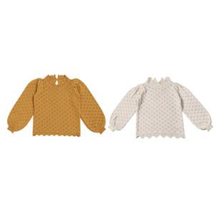Neueste Ins Strickmädchen-Spitze ausgehöhltes T-Shirt Laterne Langarm-Bottoming-T-Shirt Prinzessin Kleinkind Kinder Pullover Top Kleidung 479 K2