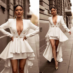 Plunging V Neckline Sexy 2021 Prom Dresses with Buttons Long Sleeves Evening Party Gowns High Low Women Special Cocktail Dress