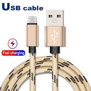 USB كابل نوع C كابل محول مزامنة بيانات الشحن محول الهاتف سمك قوي مزين الجزئي كابل USB بريميوم نايلون مزين