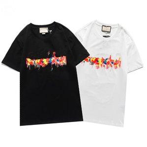 Мода мужская футболка 21 Новый Высококачественный Дышащий Trend Письмо Цвет Узор Top Горячая Продажа Женская Футболка с коротким рукавом S-2XL