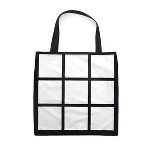 10pcs Sublimation White Blank DIY 9 Grid Peach skin velvet Tote Bag Single Sides Heat Transfer Shopping bags