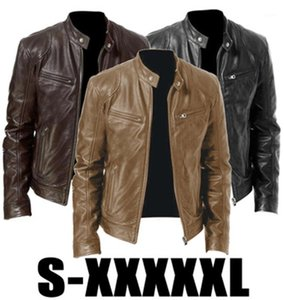 PU Leather Jacket Fashion Autumn Motorcycle Leather Jacket Fit Coat Casual Zipper Outerwear Designer Male Stand-up Collar Slim Coats Man