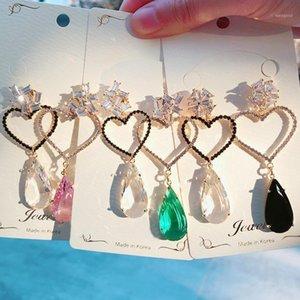 Mengjiqiao Moda coreano strass asimmetrico Hollow Love Heart Ciondola pendories per le donne Drop Bodcle D'oreille Gioielli1