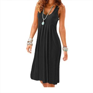High Quanlity New Women Dress Sleeveless Loose Pleated Dresses Casual Femme Knee Sundress Ladies Clothes Vestidos Clothing