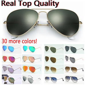 Tasarımcı siyah veya kahverengi deri çanta, bez ve perakende aksesuarlarla erkekler kadınlar için en kaliteli havacılık pilotu güneş gözlüğü güneş gözlüğü!