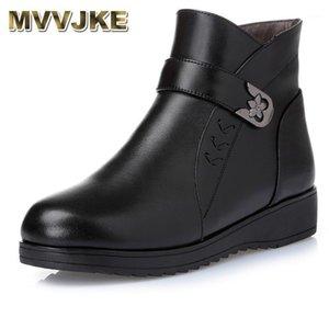 MVVJKE Femmes Bottes 2020 Chaussures de mode Femme Croîchements en cuir Véritable Bottines Bottines Hiver Snow Well Wood Women's Shoes1